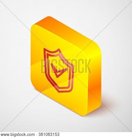 Isometric Line Shield With Check Mark Icon Isolated On Grey Background. Security, Safety, Protection