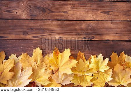 Autumn Leaves Frame On Wooden Background Top View Fall Border Yellow And Orange Leaves Vintage Wood