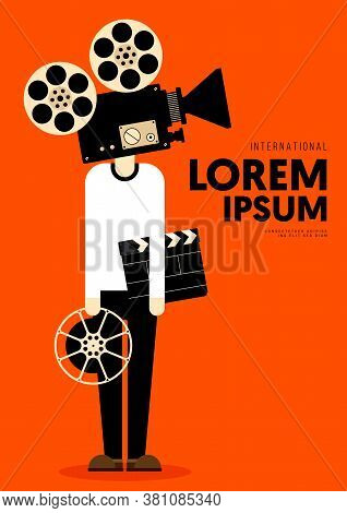 Movie And Film Poster Design Template With A Man Holding Vintage Film Camera, Clapperboard. Design E