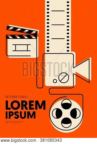 Movie And Film Poster Design Template With Outline Film Reel, Clapperboard, Camera. Design Element C