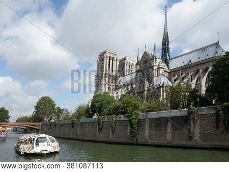 Notre Dame Cathedral, Beside The River Seine, Paris, France