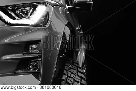Close Up Detail On One Of The Led Headlights Pickup Truck Black And White Tone,copy Space