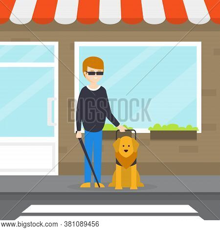 Seeing Eye Dog Guiding A Blind Man, Dog Companion And Its Owner On Walk Cartoon Vector Illustration