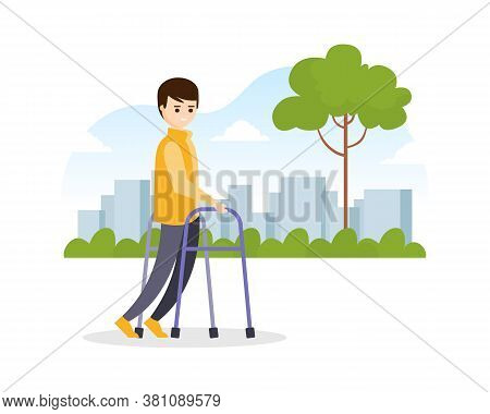 Young Man Using Walkers While Walking On The Street, Disabled Person Strolling In Park Cartoon Vecto