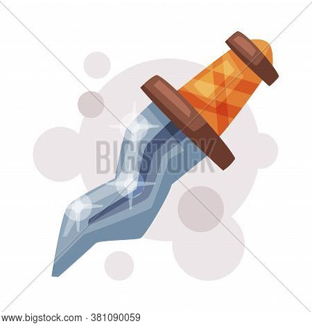 Medieval Dagger, Occult Magic Object For Mystic Ritual Cartoon Style Vector On White Background