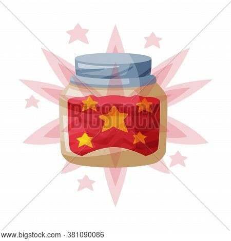 Bottle With Magical Sparkling Potion, Occult Magic Object For Mystic Ritual Cartoon Style Vector Ill