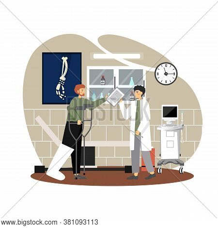 Doctor Talking To Patient With Broken Leg In Cast Using Crutches, Vector Flat Illustration