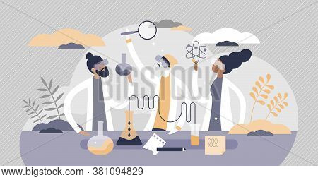 Students In Laboratory With Science Experiment Research Tiny Persons Concept. Biology, Chemistry And
