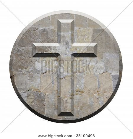 Carved Stone Cross On Circular Bevelled Panel