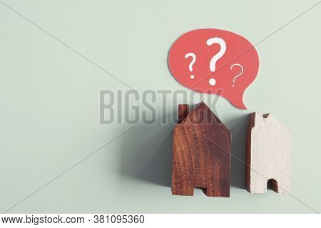Wooden Houses With Question Marks, Housing Crisis, Confused Decision, Insecure Investment, Choosing