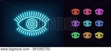 Neon Magic Eye Icon. Glowing Neon Eye Sign With Circle Iris, Spiritual Vision In Vivid Colors. Mysti