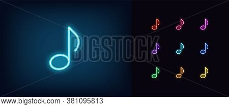 Neon Music Note Icon. Glowing Neon Note Sign, Melody In Vivid Colors. Music Festival, Radio Show, Mu