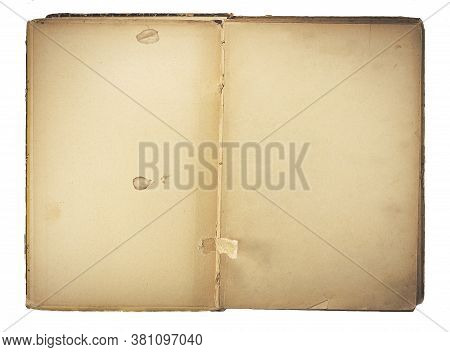 Old Opened Book Isolated On White Background