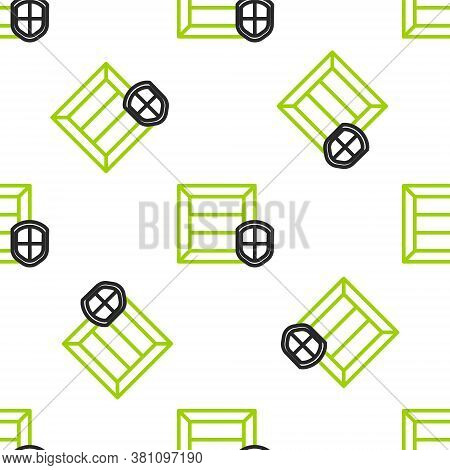 Line Delivery Pack Security With Shield Icon Isolated Seamless Pattern On White Background. Delivery