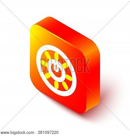 Isometric Line Dial Knob Level Technology Settings Icon Isolated On White Background. Volume Button,