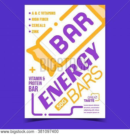 Energy Bars Food Creative Advertise Banner Vector. Vitamin And Protein Taste Bar Package On Promotio