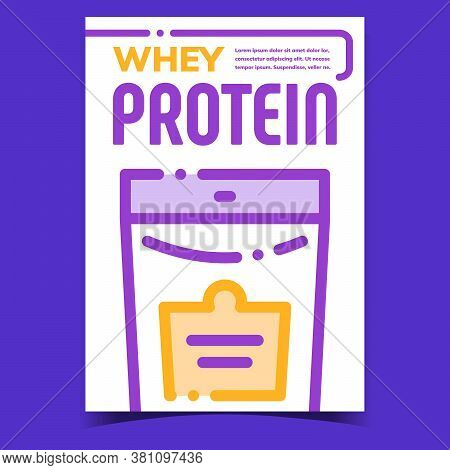 Whey Protein Creative Advertising Poster Vector. Whey Protein Package On Promotional Banner. Bag Pac