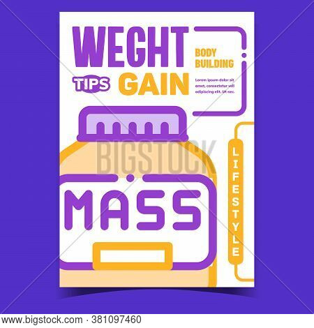 Weight Gain Tips Creative Advertise Poster Vector. Mass Gain Nutrition Bottle On Promotional Banner.
