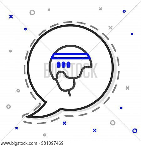 Line Hockey Helmet Icon Isolated On White Background. Colorful Outline Concept. Vector Illustration
