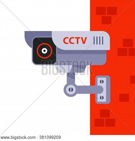 Video Surveillance On The Wall Of The Building. Covert Surveillance Of People. Flat Vector Illustrat