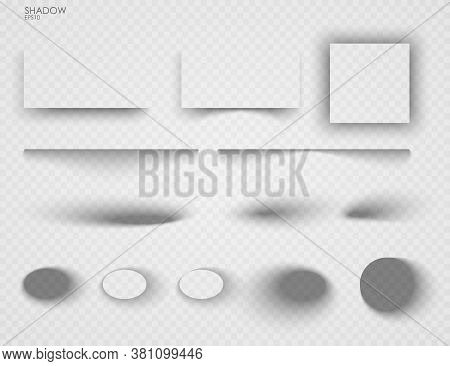 Vector Shadows Isolated. Set Of Shadow Effects. Transparent Paper And Objects Box Square Shadows. Wa