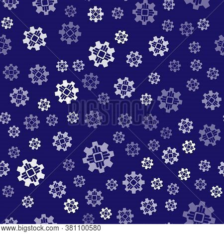 White Processor Icon Isolated Seamless Pattern On Blue Background. Cpu, Central Processing Unit, Mic