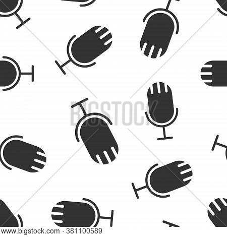 Microphone Icon In Flat Style. Studio Mike Vector Illustration On White Isolated Background. Audio R