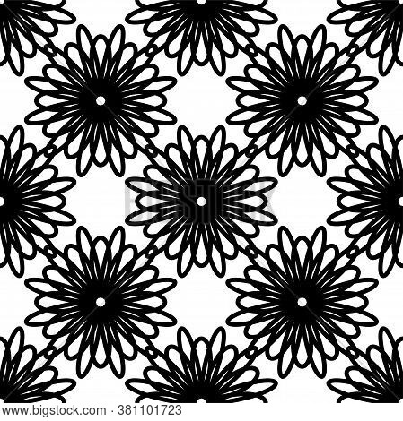 Circular Flower Decorative Seamless Patterns. It Can Be Used For Laser Cutting And Carving. Cutout D