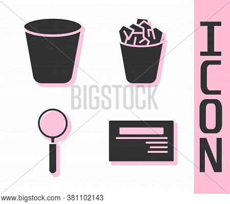 Set Business Card, Trash Can, Magnifying Glass And Full Trash Can Icon. Vector