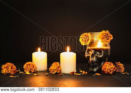 Burning Candles, Skull And Marigold Flowers. Dia De Los Muertos Day Or Day Of The Dead