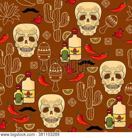 Mexican Festive Vector Seamless Pattern. Skull, Tequila, Maracas, Cactus, Chili.