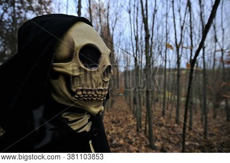 Halloween Holiday. Death Carnival Costume. Death Portrait. Death Mask On Blurred Autumn Forest Backg