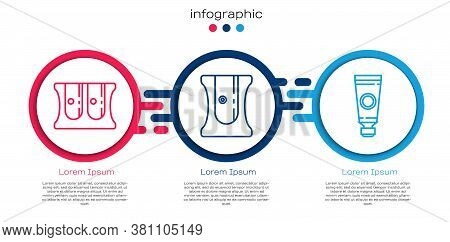Set Line Pencil Sharpener, Pencil Sharpener And Tube With Paint Palette. Business Infographic Templa