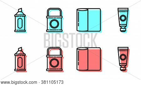 Set Line Paper Towel Roll, Marker Pen, Paint Bucket And Tube With Paint Palette Icon. Vector