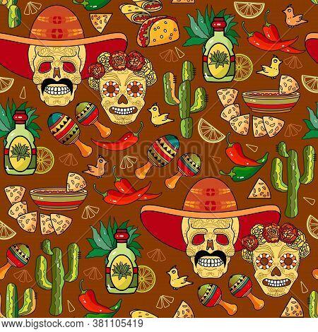 Mexican Hand-drawn Seamless Pattern. Skull, Tequila, Maracas, Cactus, Chili Pepper, Sombrero. Vector