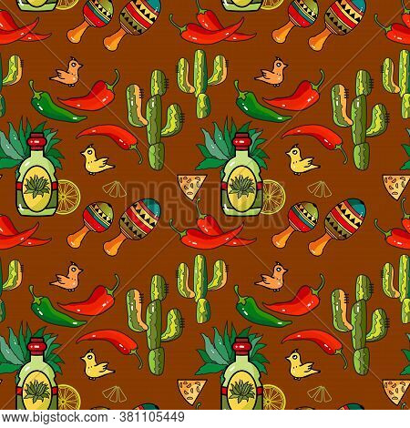 Mexican Holiday Vector Seamless Pattern. Traditional Mexican Symbols And Items.