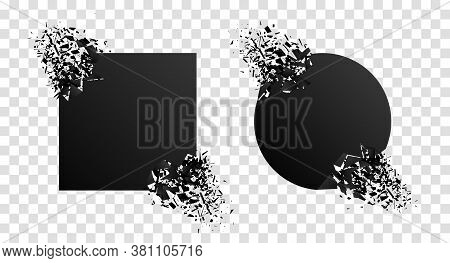 Broken Geometric Shape With Explosion, Particles. Shatter Stone With Debris. Black Graphic Circle, S