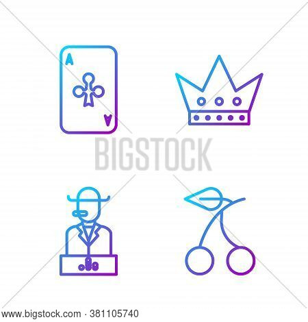 Set Line Casino Slot Machine With Cherry, Poker Player, Playing Card With Clubs And King Playing Car