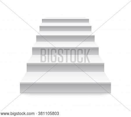 Staircase. White Stair To Up. Stairway Before Podium. 3d Ladder With Steps In Front View. Blank Inte