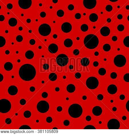 Ladybug Seamless Pattern. Lady Bug Background With Red And Black Colors. Ladybird Texture For Print.