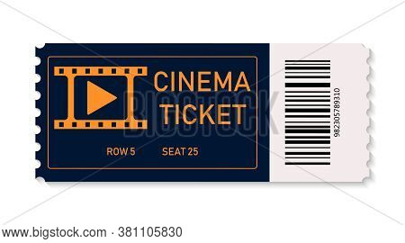 Ticket Cinema. Ticket For Movie, On Concert, Theater Isolated On White Background. Coupon For Admiss
