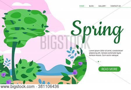 Spring Sale Website Or Landing Page Template With Trees And Spring Blooming Nature, Cartoon Vector I