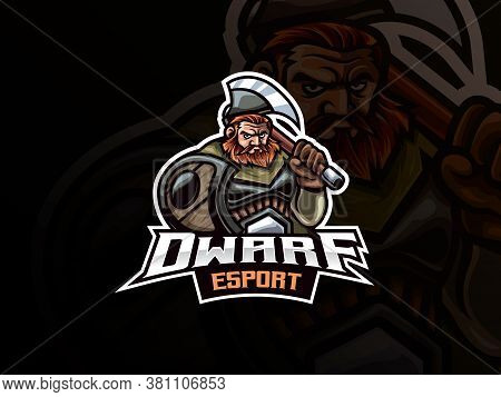 Dwarf Warrior Mascot Sport Logo Design. Warrior Mascot Vector Illustration Logo. Mythology Dwarf War