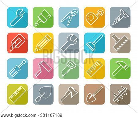Hand Tools, Construction, Icons, Color, Outline. Thin Linear Drawing. White Icons On A Colored Backg