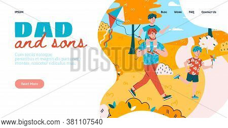 Dad And Son Website Banner Design With Characters Of Man And Children Walking Together, Flat Vector