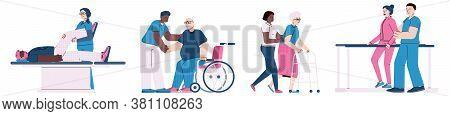 Physiotherapy And Rehabilitation Of Injured People Horizontal Banner, Flat Cartoon Vector Illustrati