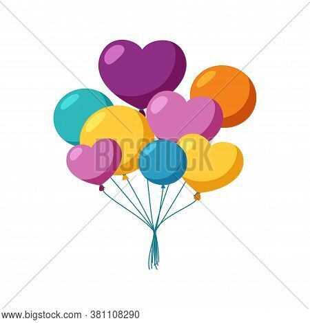 Bunch Of Colorful Balloons. Flying Balloons For A Party Or Celebration. Flat Vector Illustration Iso