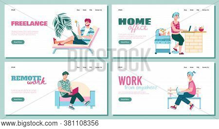 Remote Freelance Work From Home Banner Set With Cartoon People Working Remotely On Laptops. Freelanc