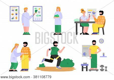 Set With Doctor Nutritionist Treating And Consulting A Patient, Flat Cartoon Vector Illustration Iso
