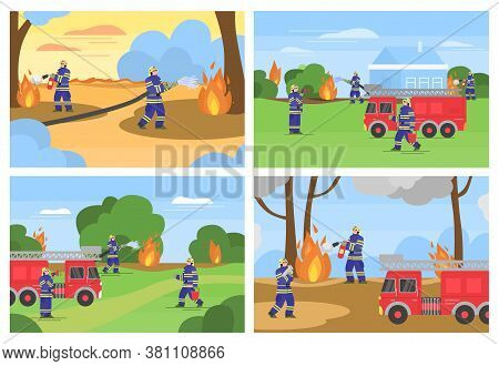 Set Of Scenes With Firefighters And Rescues Put Out The Fire In Forest Landscape, Flat Cartoon Vecto